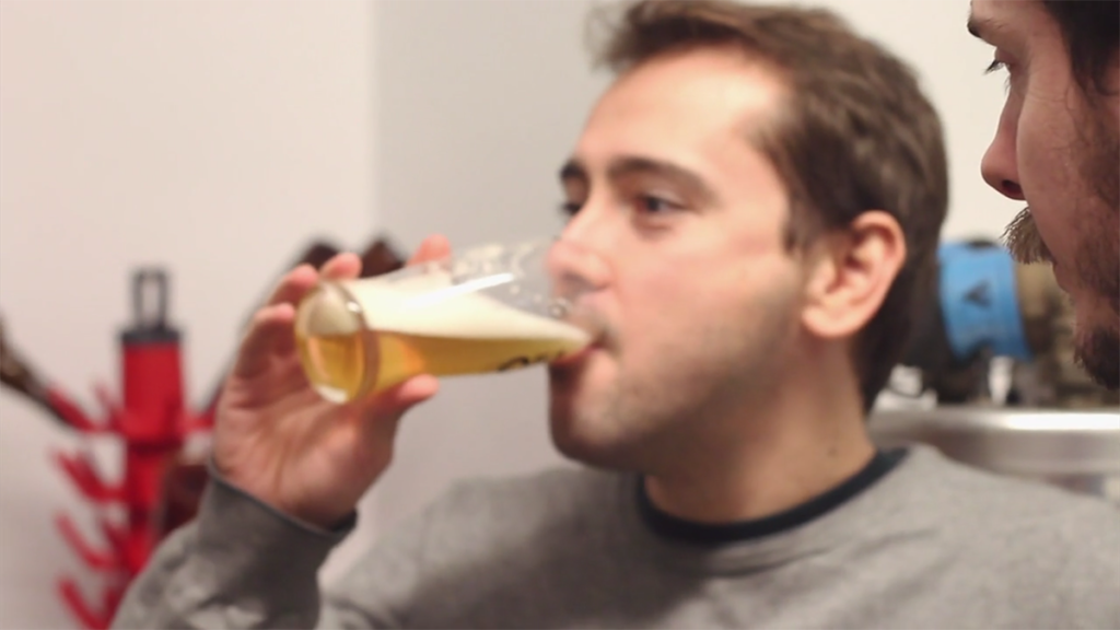 alex drinking beer in brand new year